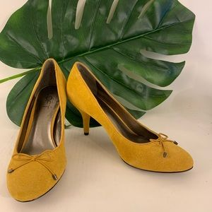 Loft gold suede pumps